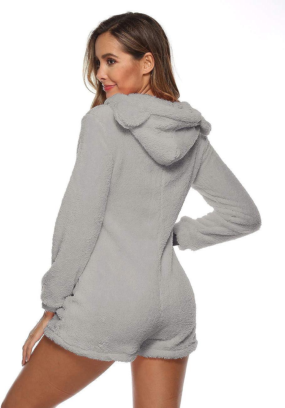 Amiliashp Womens Cute Sherpa Romper Fleece Onesie Pajama One Piece Zipper Short Hooded Jumpsuit Sleepwear Playsuit