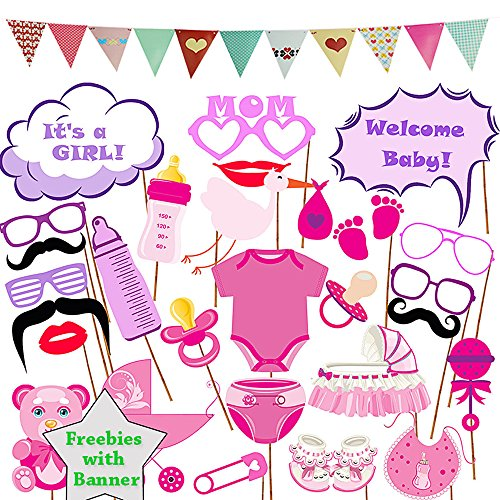Baby Shower Photo Booth Prop Banner Garland Bunting - Newborn Monthly Ideas Gender Reveal Party Favors Supplies Decorations It's a Girl Photography Selfie Birthday Christmas Gift for Pregnant -