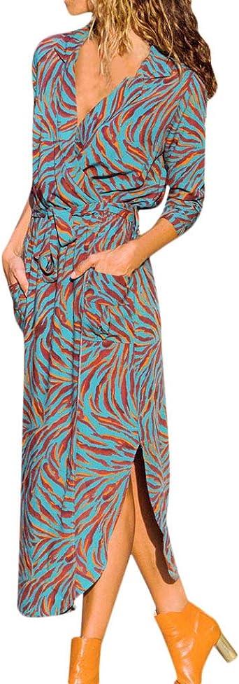 Longra damska 1/2 rękaw dekolt w serek elegancka długa sukienka bluzkowa sukienka koszula koszula koszula gÓrna sukienka maxi z paskiem S-2XL: Odzież