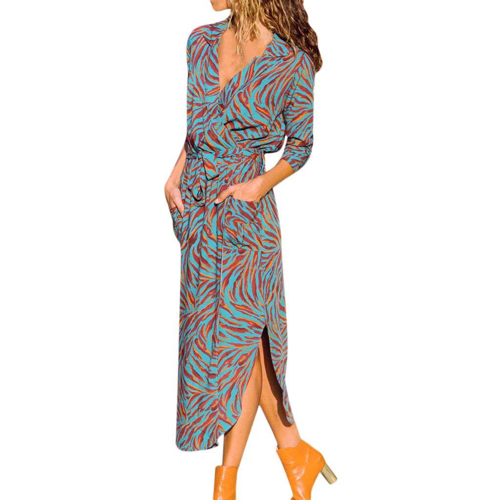 b9915b43700 trwała usługa Battnot Damen Kleider Elegant Sexy Oversize Grosse Grössen  Lange Print Langarm V-Ausschnitt