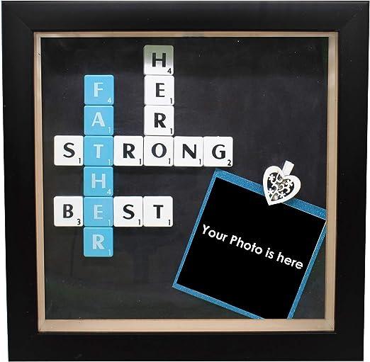 Trimming Shop - Marco de Fotos Especial para el día del Padre con baldosas de Scrabble para el hogar, Oficina, decoración de Pared y Regalo, 20,3 x 20,3 cm, Madera, Negro, with