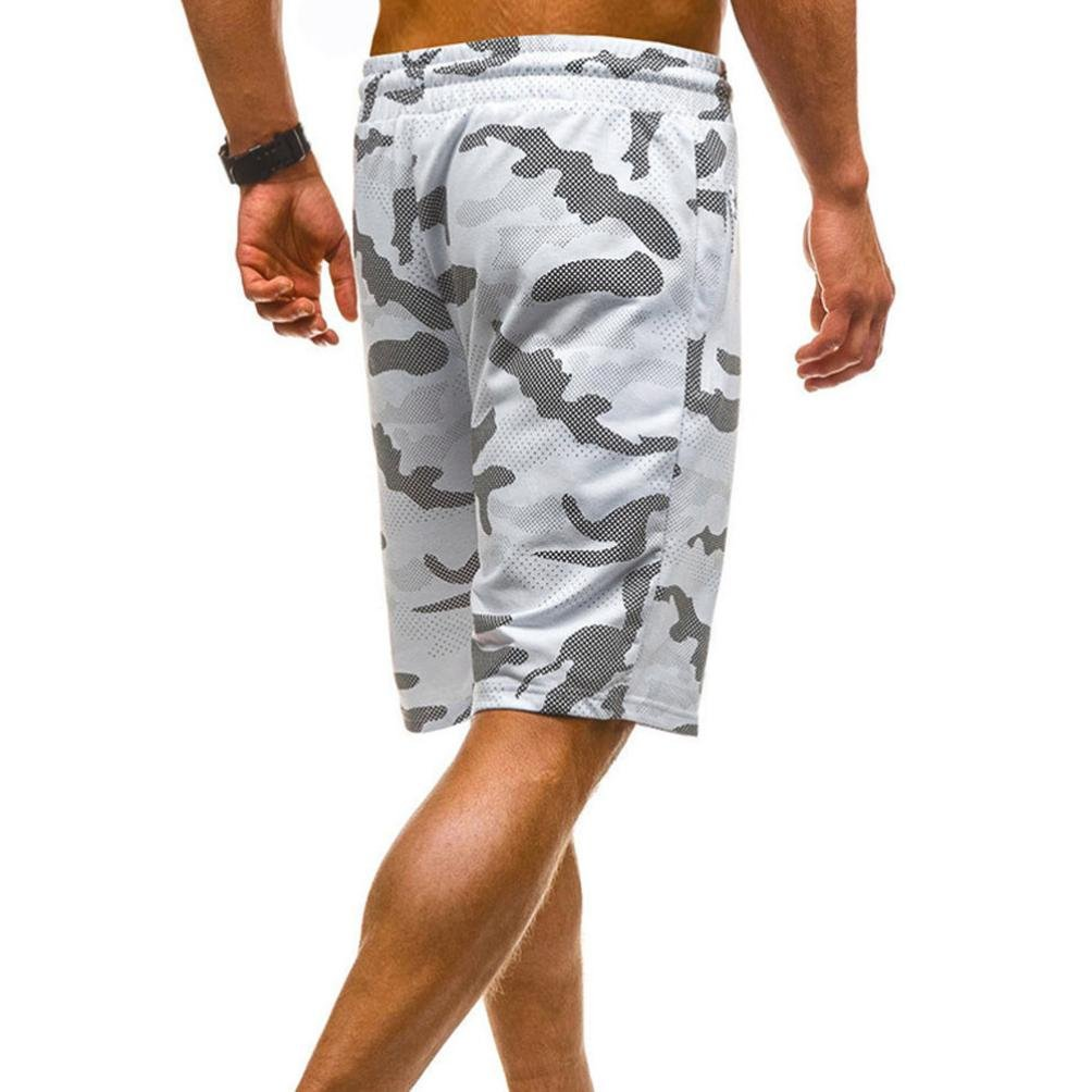 vermers Mens Summer Casual Cargo Shorts 2018 Camouflage Short Pants(L, White) by vermers (Image #4)