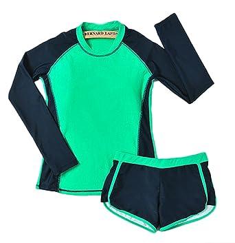 ... Rashguard  coupon code 36ab4 06ec3 ABCWOO Womens Long Sleeve Boy Shorts  Rush Guard Color Split Two Pieces ... 6fc16518f