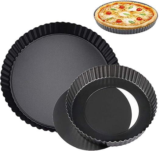 2Pcs Teglia Rotonda da Forno Antiaderente Traforata Stampo Fondo Removibile apribile Diametro 14cm Rotonda Padella FANDE Teglia crostata per Pizza Quiche