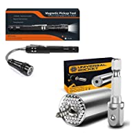 Gifts for Men, Best Practical Tools, Universal Socket Grip Tool Sets with Power Drill Adapter, Magnetic Pickup Tool with LED Light, Practical Gadget Christmas Gift for Dad