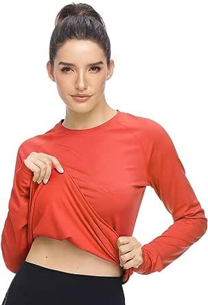 HISKYWIN Womens Lightweight Long Sleeve Turtleneck Crew Stretch Slim T Shirt Layer Top Thermal Shirts