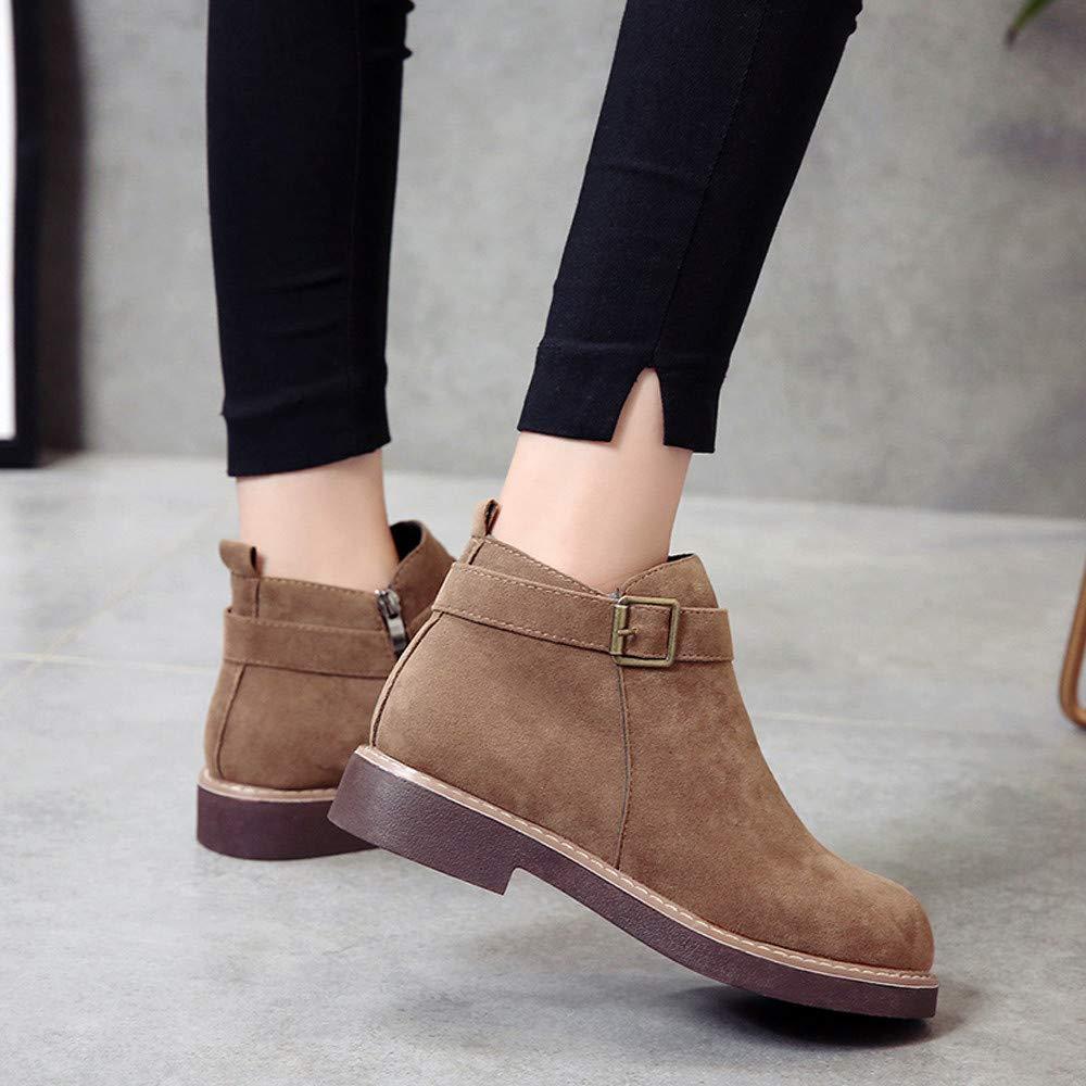 ❤ Botas Cortas para Las Mujeres Planas, Zapatos de Punta Redonda Botines Planos de otoño Invierno Hebilla de la Correa de Gamuza Color sólido Boots ...