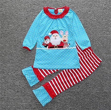 homiki Mignon pyjama dhiver du P/ère No/ël rennes mod/èle de bonhomme de neige pantalon costume pour la d/écoration et le chauffage les enfants /à manches longues T-shirt