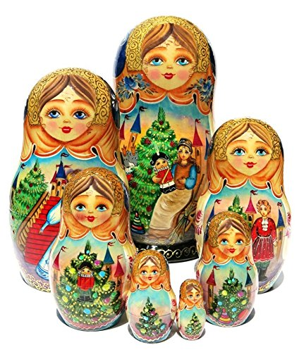 Nutcracker 7 Piece Babushka Nesting Doll in Doll Russian Stacking Toy Bolshoi Ballet Art. Signed by Artist by GreatRussianGifts