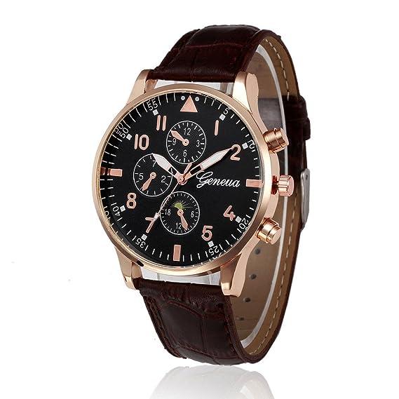 JiaMeng Reloj de Casual, Reloj de Pulsera de Cuarzo de aleación analógica de Cuero de diseño Retro (marrón): Amazon.es: Ropa y accesorios