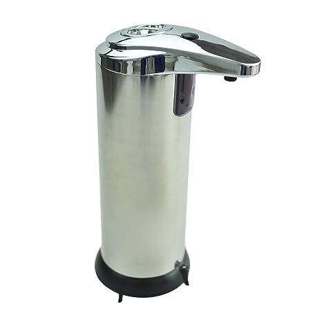 Automatico dispensador de jabon de acero inoxidable Sensor IR liquido desinfectante para las manos 250ML Plata