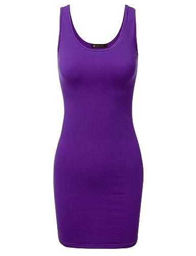 DRESSIS Women's Basic Scoop Neck Bodycon Mini Tank Dress S to 3XL (15 Colors)