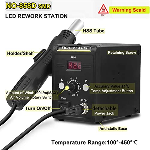 Hot Air Rework Station Kit with Digital Display SMD Desoldering Rework Station for BGA IC 700W 500 C