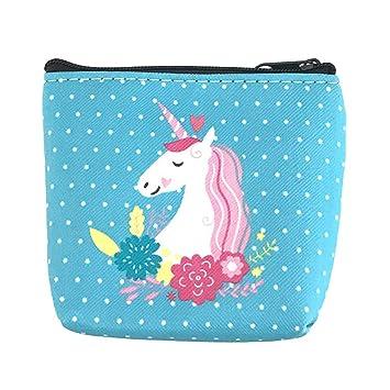 BIGBOBA Linda Unicornio Mini Monederos- Pequeñas Dibujos Animados Monederos Zipper Monederos Embrague Billetera para Mujer/Niña/Niños de Mini Bolsa de ...