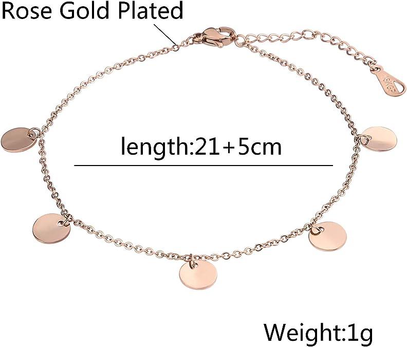 Neu 925 Silber FUßKETTCHEN 23cm+2cm FUßKETTE Fusskettchen Farbe rosegold