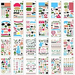 ZTWEDEN 24Pcs Painting Stencil Set Drawing Stencils Kit Over 1700 Patterns for Kids Creativity Educational Toy Plastic Stencils Washable Bullet Journal Template for Notebook, Diary, Scrapbook DIY