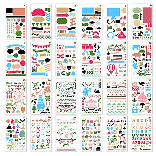 Kids Butterfly Diary - ZTWEDEN 24Pcs Painting Stencil Set Drawing Stencils Kit Over 1700 Patterns for Kids Creativity Educational Toy Plastic Stencils Washable Bullet Journal Template for Notebook, Diary, Scrapbook DIY