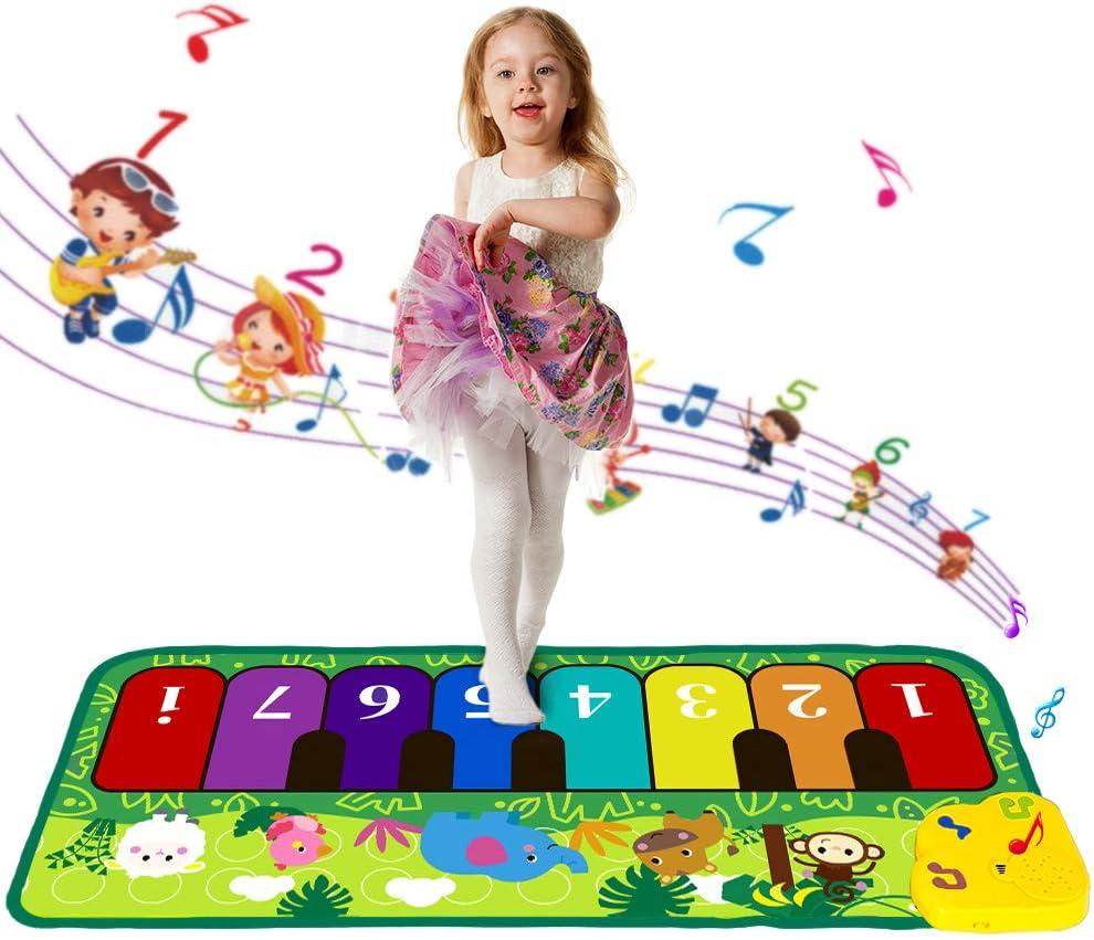 Shayson Alfombrillas Musicales para Niños Piano con Música Bebés Alfombra de Pista de Baile Alfombra Manta de Animales Alfombra de Juego Táctil Juguetes de Educación Temprana para Bebés(43.3x14.2in)