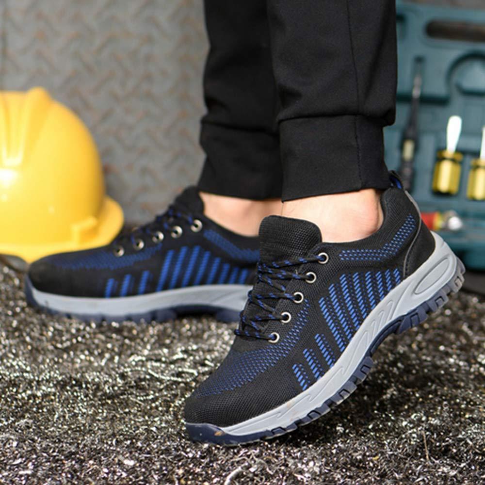 KINGLEN Steel Toe Breathable Industrial Construction Shoes for Men Women Weaving Work Safety Shoes (8 Women / 6.5 Men, Blue) by KINGLEN (Image #3)