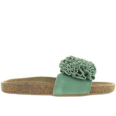 71a5d730835 Musse   Cloud Sisley - Green Suede Ruffled Flower Footbed Slide Sandal -  Size  36