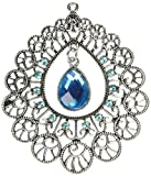 1set Vintage Jewelry Scarf Blue Crystal Charm Tube Buckle Silver Hollow Pendant Necklace Scarf Findings
