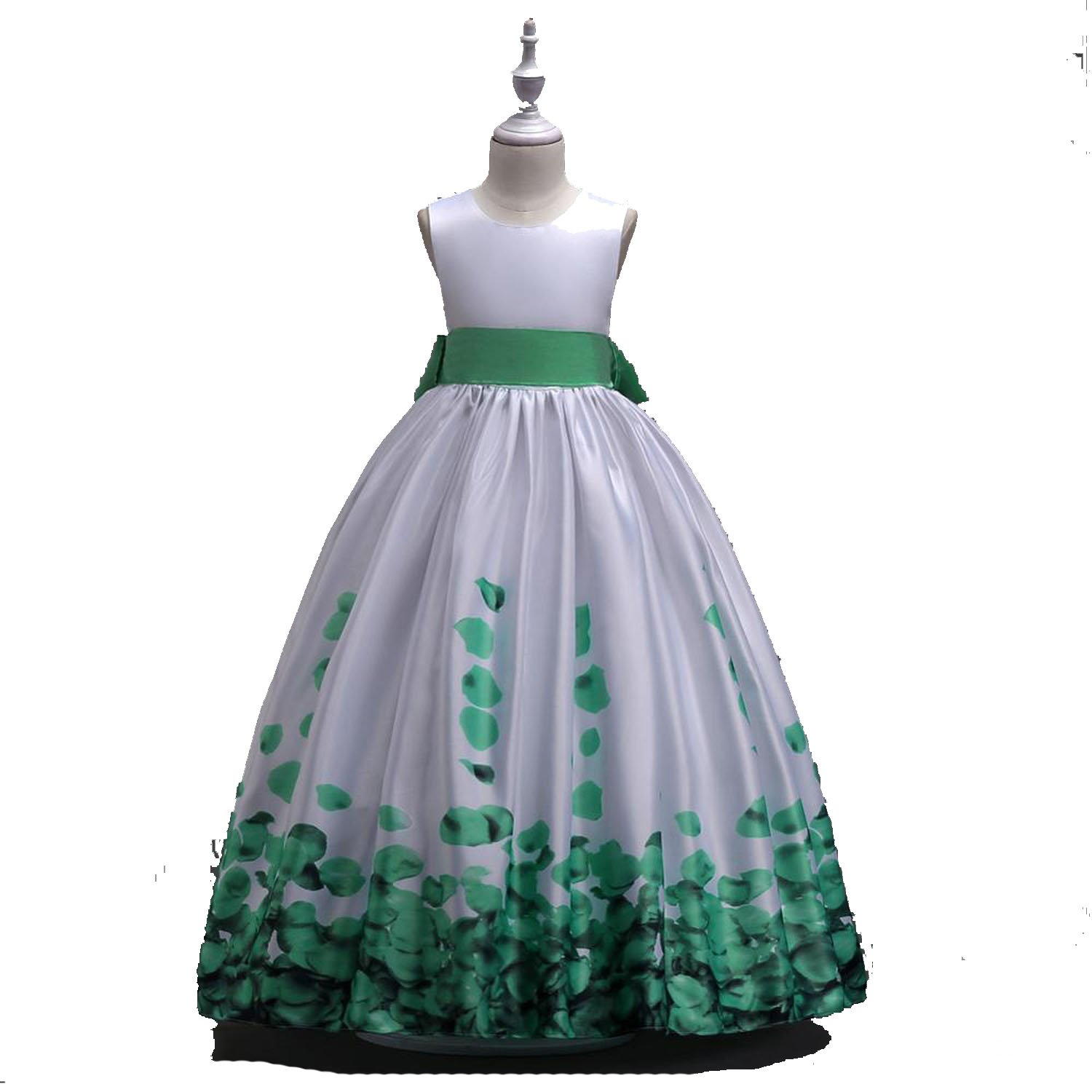 Flower Girl for Wedding Party Dress Long with Bow Print Formal Gown,Green,Child-12
