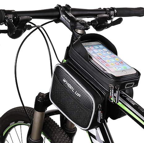 QRJ Bolso de la Bicicleta Bolso de la viga Delantera Impermeable ...