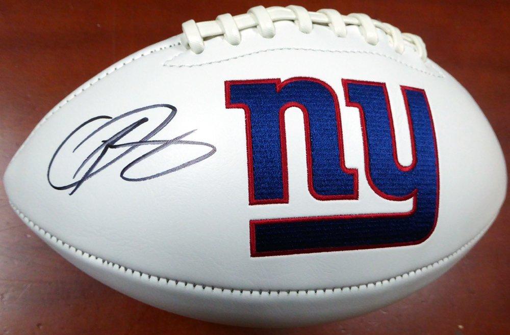 ODELL BECKHAM JR. AUTOGRAPHED NEW YORK GIANTS WHITE LOGO FOOTBALL BECKETT BAS STOCK #122043