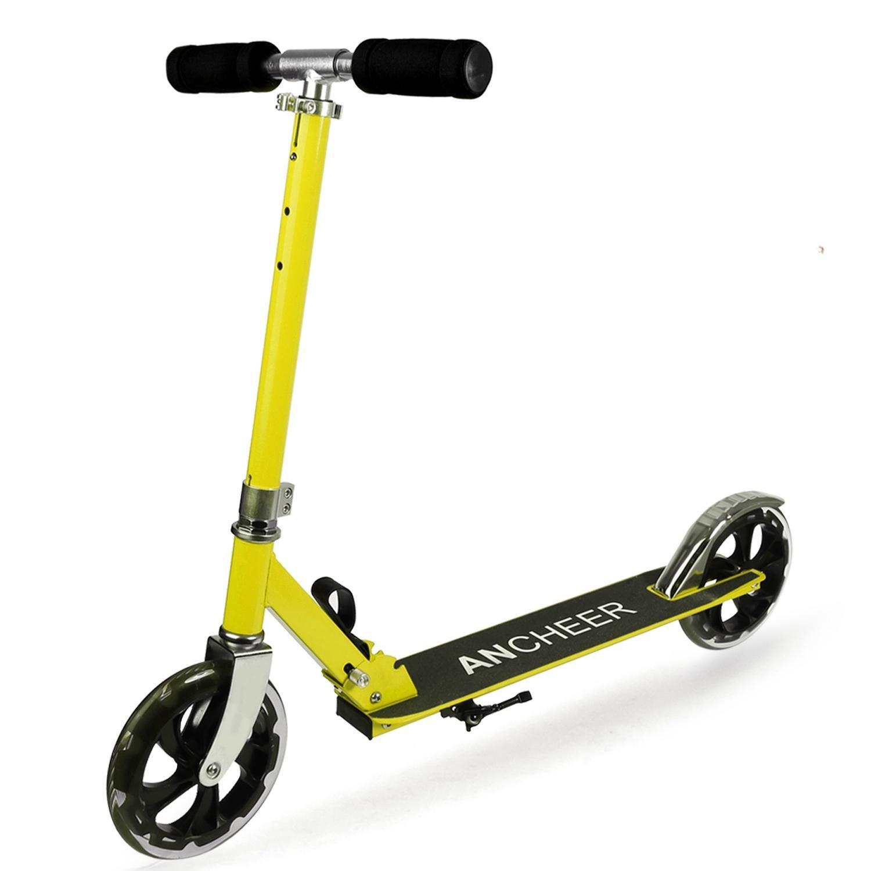 Lonlier Scooter Ajustable de Aleación de aluminio Patinete Freestyle Plegable de 2 Ruedas para Adultos Color Amarillo HV003386_Y####