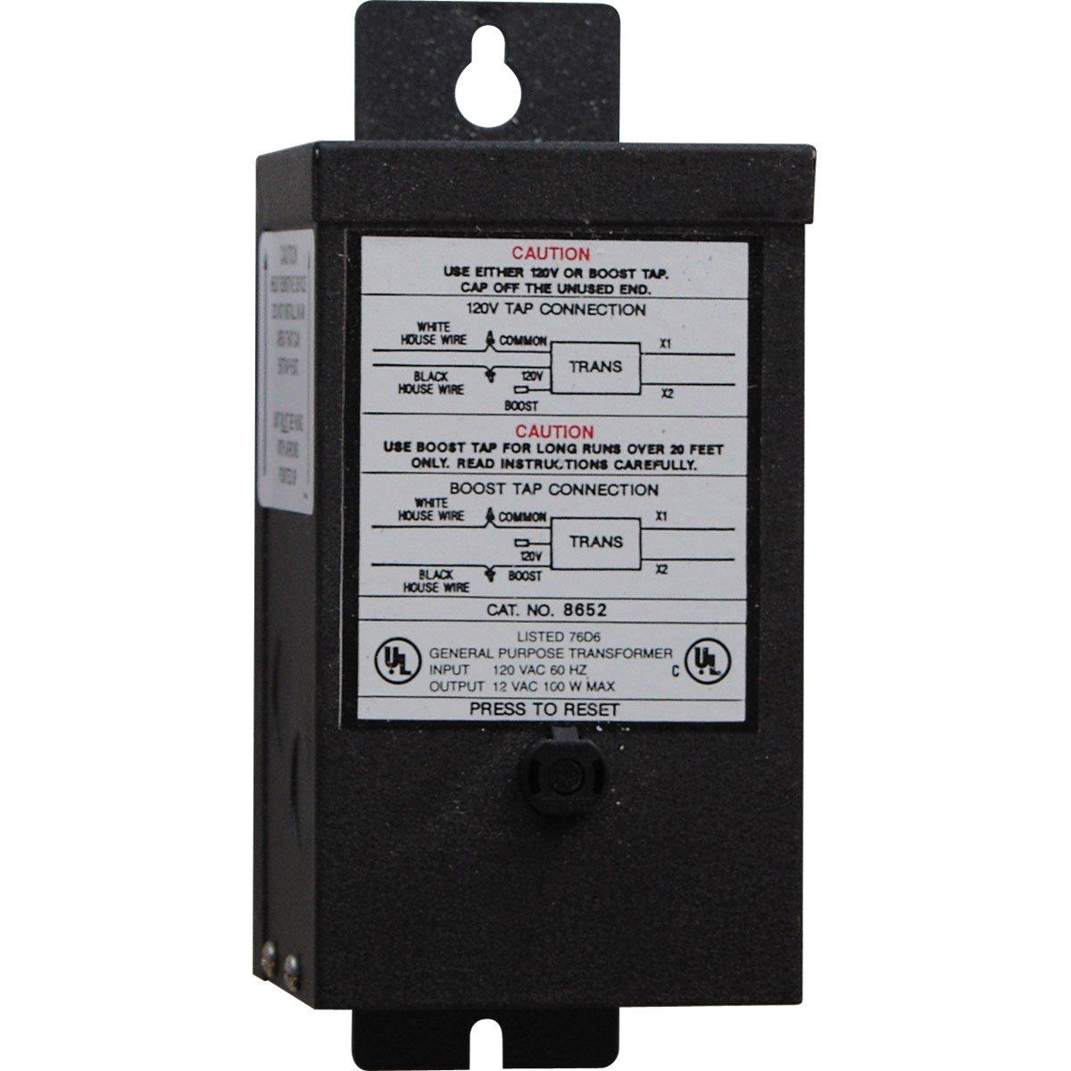 Progress Lighting P8652-31 12 Volt Transformer with 100 Watt Capacity, Black