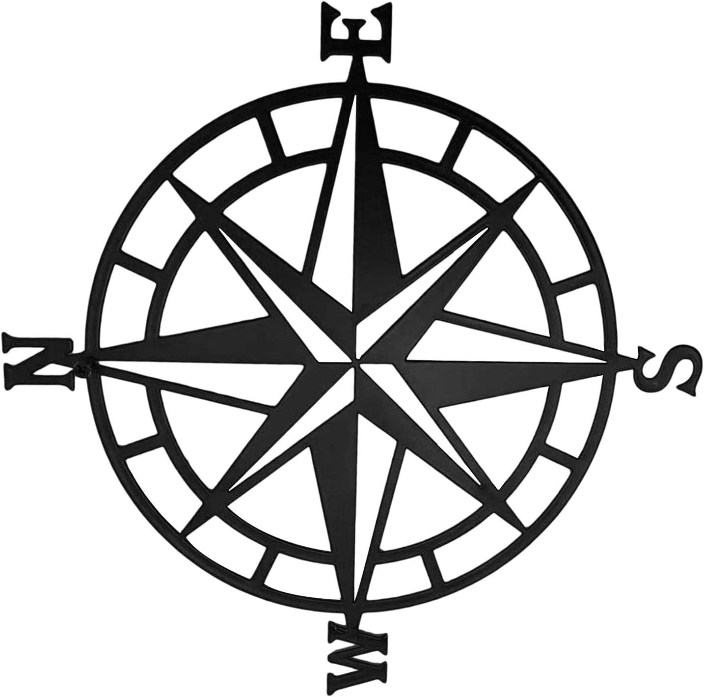 Doefo 11.8 Inch Metal Compass Mural Decoration Nautical Decoration Bedroom Living Room Garden Office Wall Hanging Home Decoration