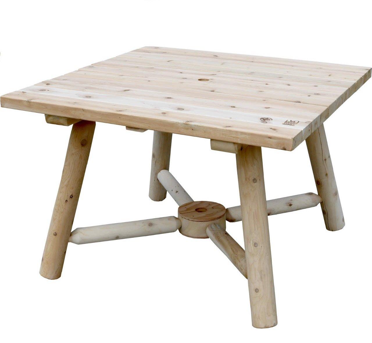 アウトドアテーブル キャンプ カナダ製 パラソル穴 ガーデン テーブル スクエアテーブル B07FCFRLT3  スクエアテーブル
