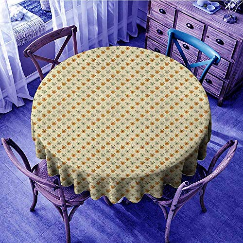 (ScottDecor Floral Tassel Tablecloth Old Fashioned Flower Corsage Poppy Petals Spring Blossoms Pattern Garden Round Tablecloth Beige Amber Pale Sage Green Diameter 54