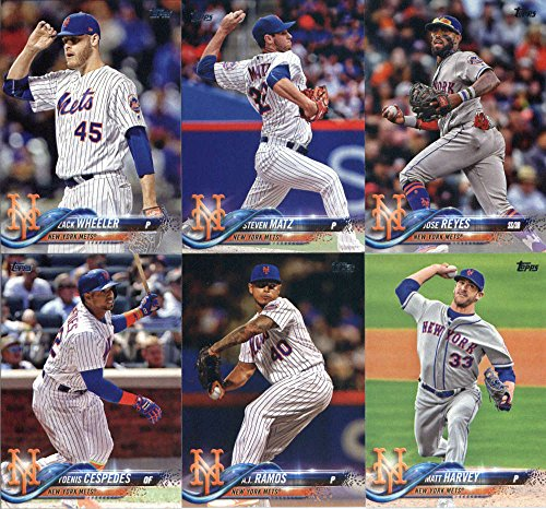 2018 Topps New York Mets Team Set of 11 Baseball Cards (Series 1): Dominic Smith(#6), Amed Rosario(#63), Michael Conforto(#88), Travis d'Arnaud(#91), A.J. Ramos(#123), Yoenis Cespedes(#125), Matt Harvey(#188), Steven Matz(#221), Zack Wheeler(#228), Wilmer Flores(#344), Jose Reyes(#345)