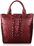 PIJUSHI Top Handle Satchel Handbags Crocodile Bag Designer Purse Leather Tote Bags (6061 Red)