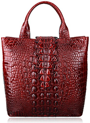 Pijushi Embossed Crocodile Leather Tote Top Handle Handbags 6061 (One Size, Red)