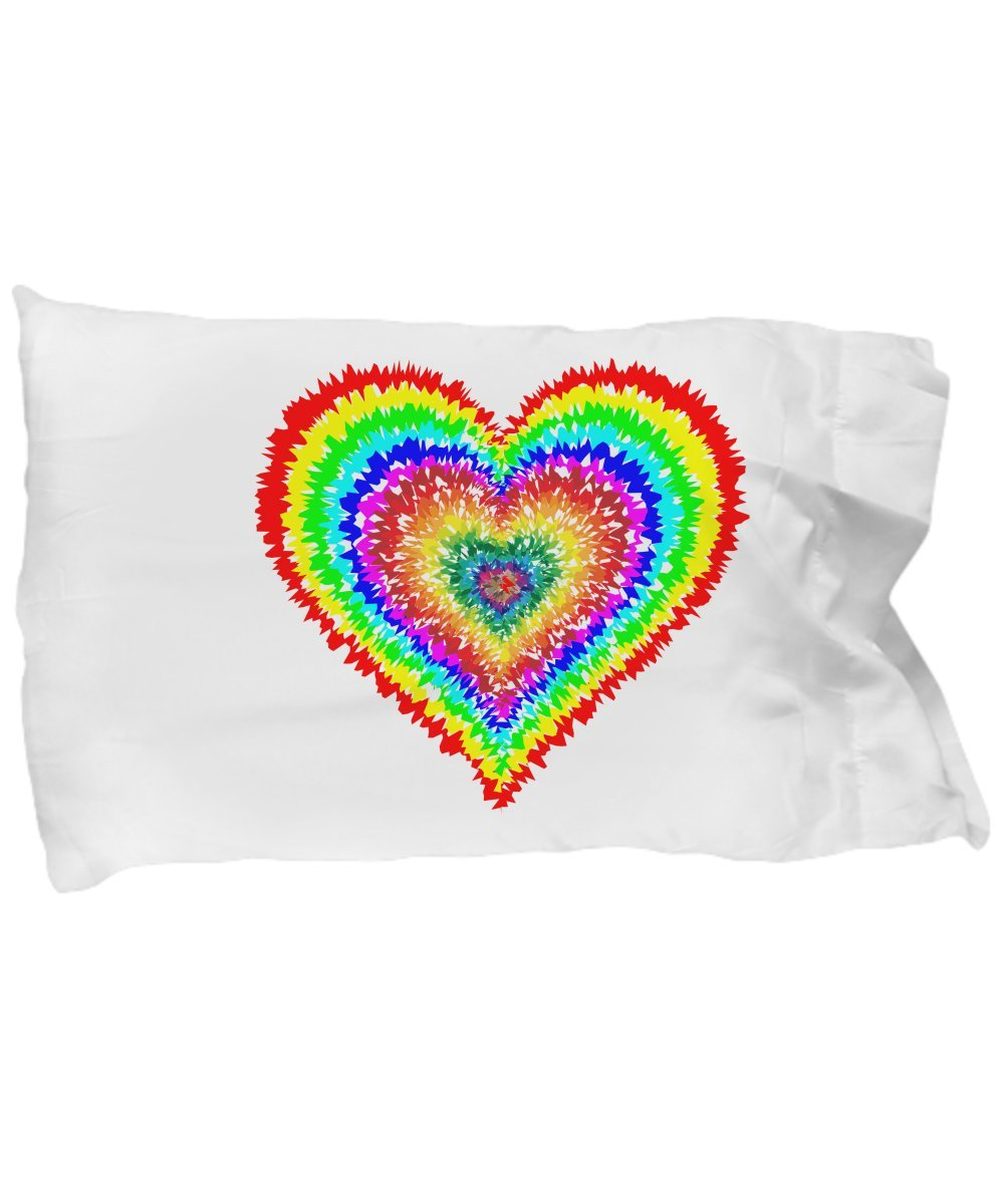 Tiny Giant T Shirts & Mugs Best TIE DYE Heart Pillow CASE Bedding, Cute & Fun Standard Pillowcase to Brighten Your Bedroom Decor, Gifts for College Dorm-Teens-Girls-Christmas (Electric Heart)