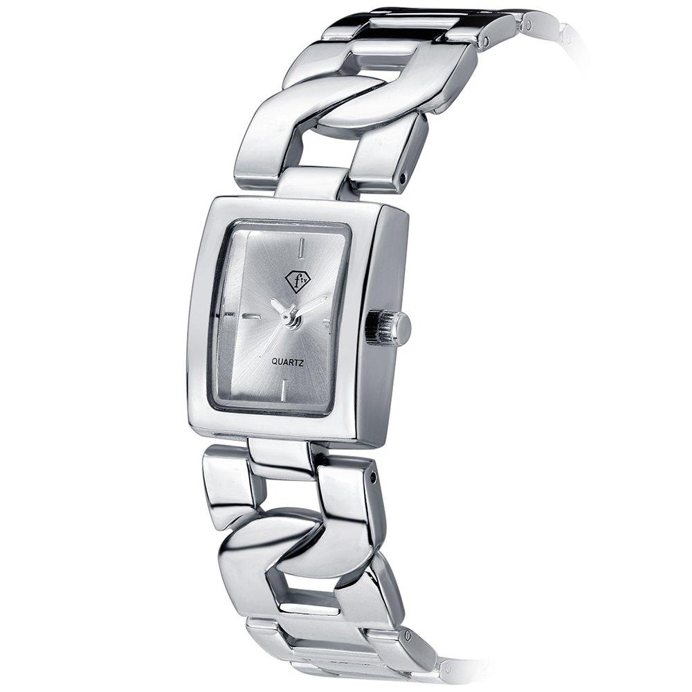 Women Bracelet Watch Luxury Crystal Wrist Watches Ladies Classic Dial Quartz Wristwatch (0035 Silver)