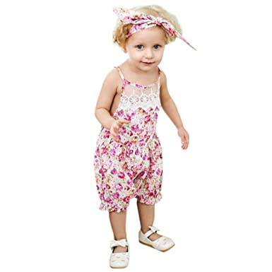 14e7bfffef61 CHshe Toddler Baby Girl Princess Floral Print Lace Summer Romper Jumpsuit  Party Outfit Clothes 0-18 Months  Amazon.co.uk  Clothing