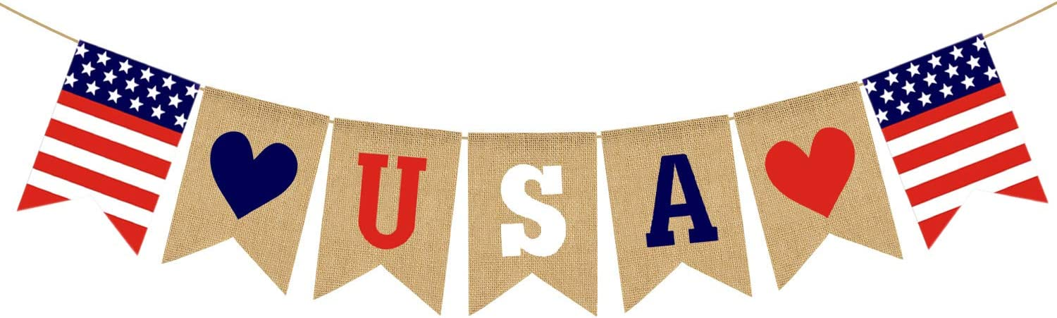 Jute Burlap USA Banner American Independence Day 4th of July Mantel Fireplace Decoration