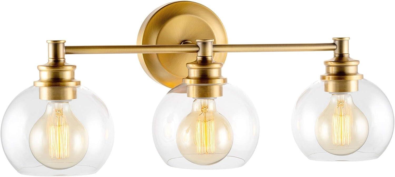 "Kira Home Odette 22"" Modern 3-Light Vanity/Bathroom Light, Clear Glass Globe Shades + Warm Brass Finish"