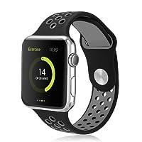 Vaxiuja Cinturino Watch 42mm, Watch Serie 1 Serie 2 Morbido Braccialetto di Ricambio in Silicone per Apple Watch Nike+ Apple iWatch 42mm, Black & Gray