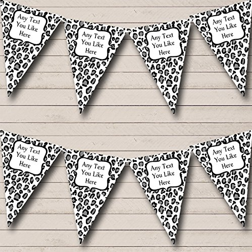 Black White Leopard Print Personalized Birthday Party Bunting Banner Garland ()