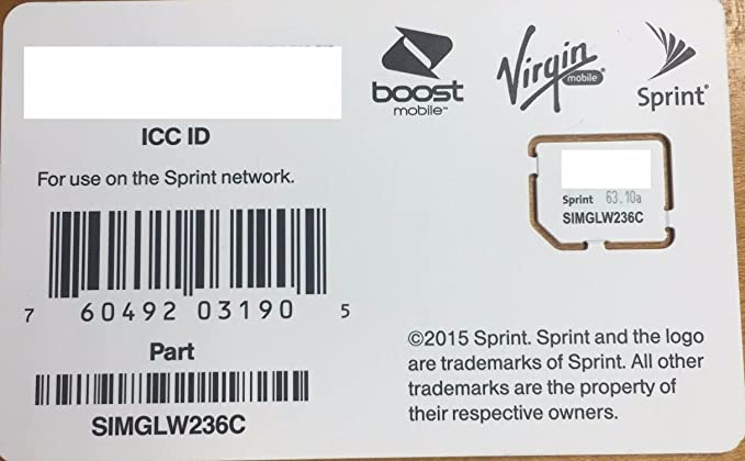 Sprint UICC ICC Micro SIM Card SIMGLW236C for Sprint, Boost, Virgin, Ting,  Flash, Ring Plus
