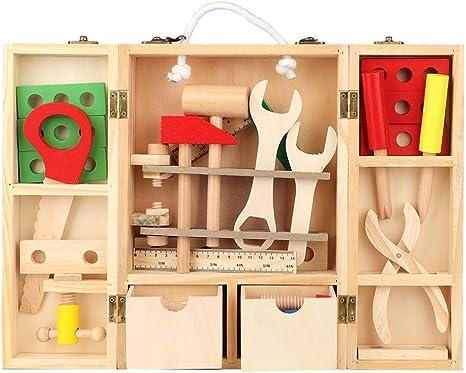Juguete Caja de herramientas de reparación, Juego de caja de herramientas multifunción portátil de bricolaje de madera para niños Combinación educativa Juego de herramientas de reparación: Amazon.es: Bebé