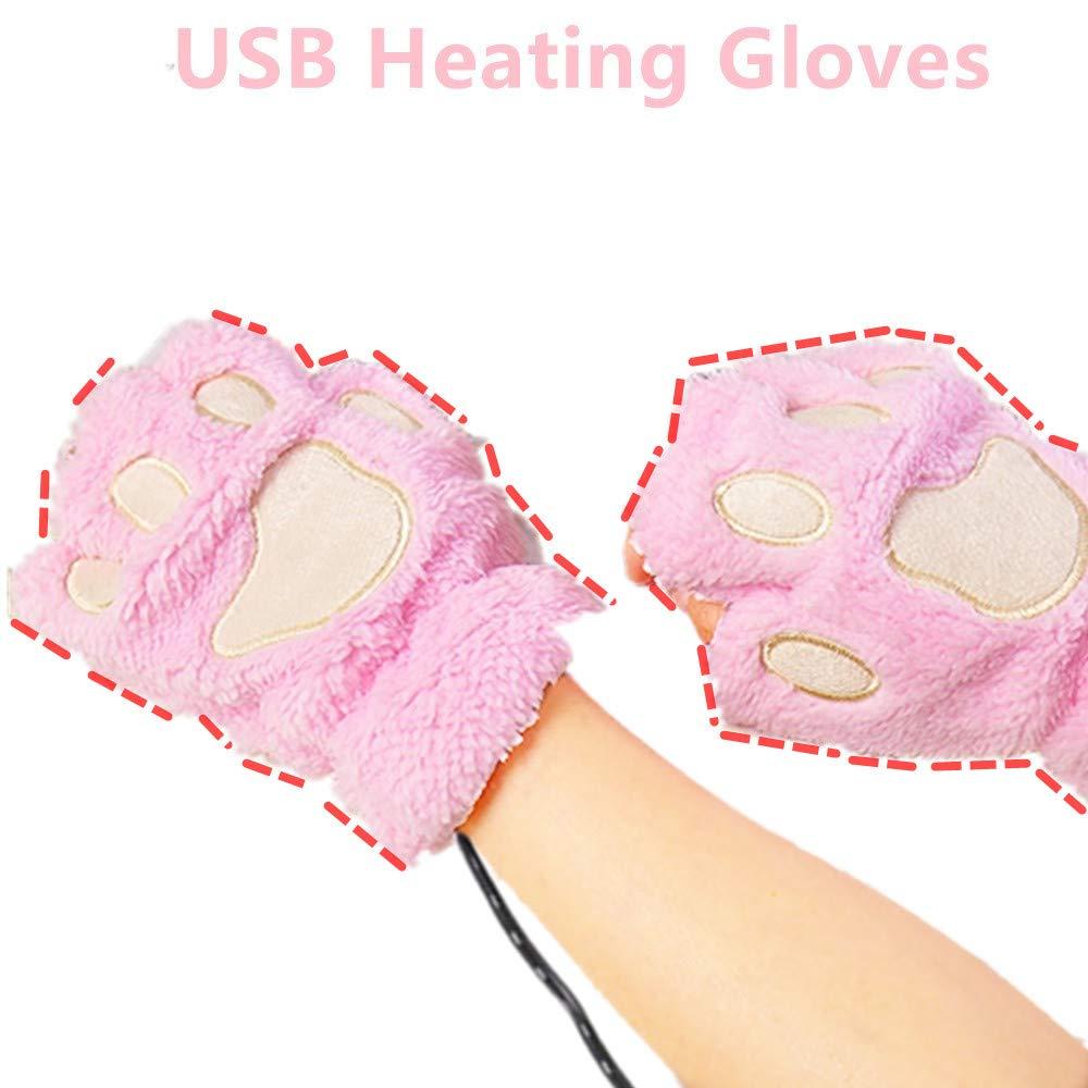 DECVO USB 2.0 Powered Stripes Heating Pattern Knitting Wool Cute Heated Paw Gloves Fingerless Hands Warmer Mittens Laptop Computer Warm Gloves for Women Men Girls Boys Black
