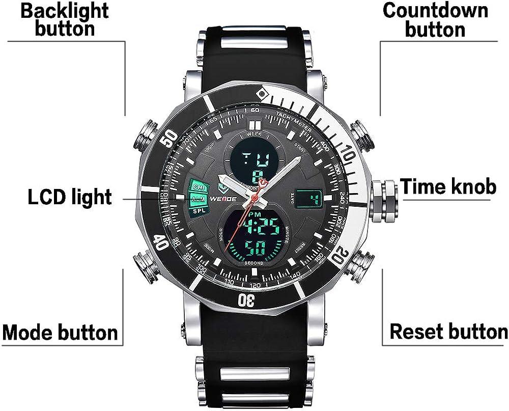 WEIDE Men s Digital Quartz Watch Analog Display with Silicone Strap LCD Stopwatch Sports Wristwatch for Men