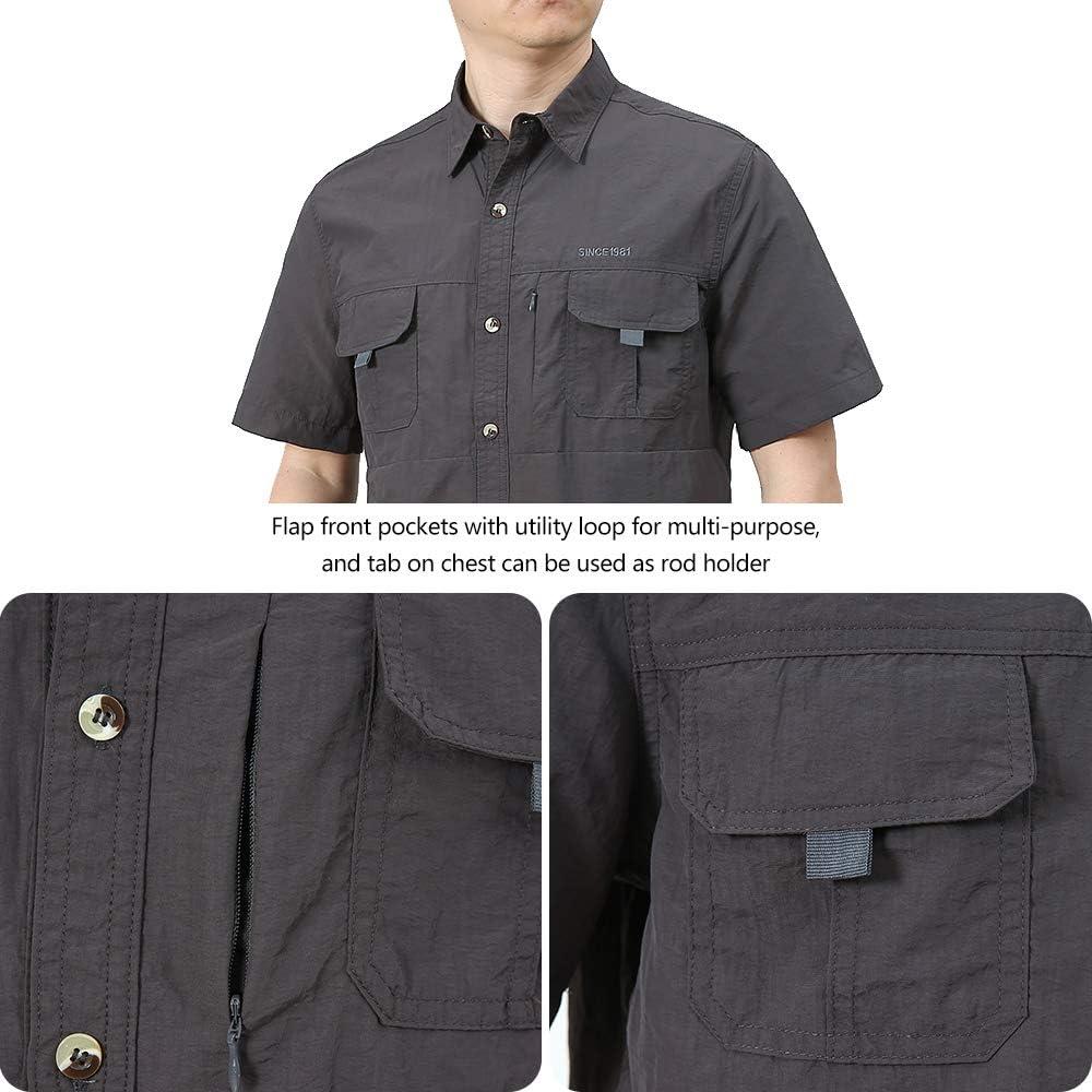 Granfee Mens UPF 50 Sun Protection Fishing Shirt Short Sleeve Quick Drying Outdoor Lightweight Hiking Camping Shirt