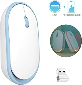 Cute Wireless Mouse,2.4G Rechargeable Silent Click Wireless Optical Mice, Orange LED Backlight, Portable Mobile Wireless Mouse for PC, Computer, Notebook, Laptop, MacBook (Blue)