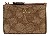Coach Signature Coated Canvas Mini Skinny ID Case in Khaki/Saddle F16107
